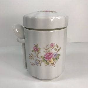 Vintage F.T.D.A. Tea/Sugar Canister w/spoon & lid
